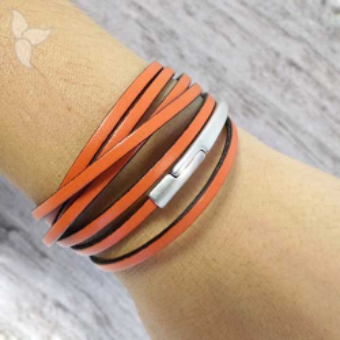 Media pulsera magnética cuero plano 3 mm