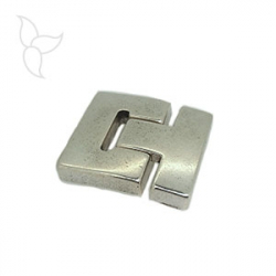 Buckle clasp silver plated flat leather 30mm