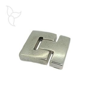 Chiusure riccio placcatura argento cuoio piatto 30mm