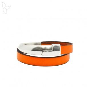 Half magnetic bracelet flat leather 10 mm