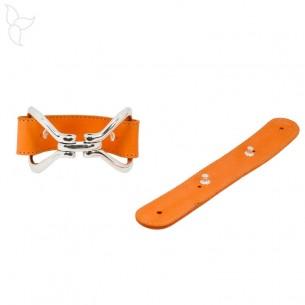 Lanière de cuir orange avec rivets 20 mm pour bracelet