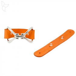Orange leather strap with rivets 25 mm ready for bracelet