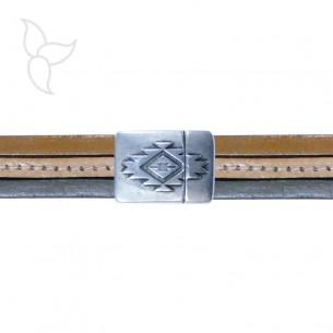 Fermoir rectangulaire à motifs cuir plat 15mm