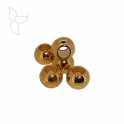 Round gold color bead hole 3mm