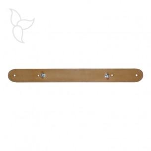 Lanière de cuir camel cousu reglable avec rivets pour bracelet