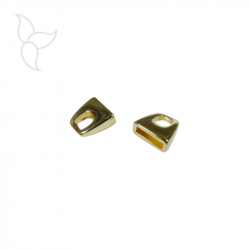 Embout simple couleur or cuir plat 10mm