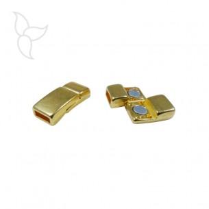 Fermoir rectangulaire incurvé doré cuir plat 5mm