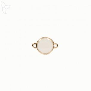 Connecteur rond doré émaillé blanc
