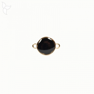 Connecteur rond doré émaillé noir