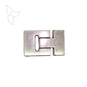 Fermoir boucle plaqué argent cuir plat 15 mm