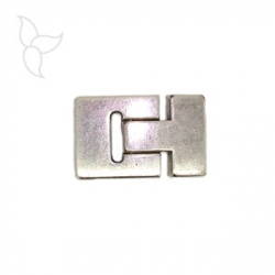 Silver plated uckle clasp flat leather 15 mm