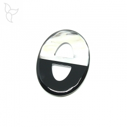 Oval buffalo horn pendant with black lacquered part.