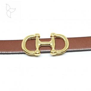 Pasador doble bocado caballo dorado para tira cuero 10mm