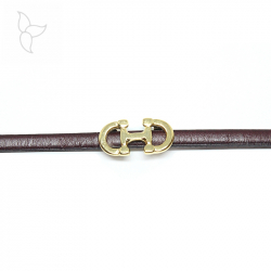 Gold color doble horse bit slider for flat leather 5 mm.
