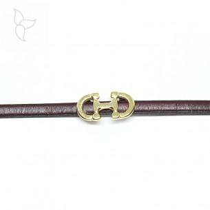 Pasador dorado doble bocado caballo para tira cuero 5 mm