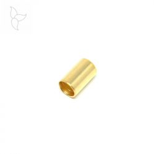 Terminal tubo dorado para cuero redondo 5mm