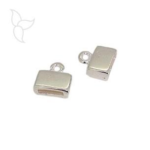 Embout carré plaqué argent pour cuir plat 10mm.