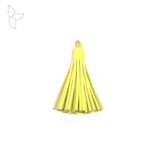 Quasten leder gelb 5 cm