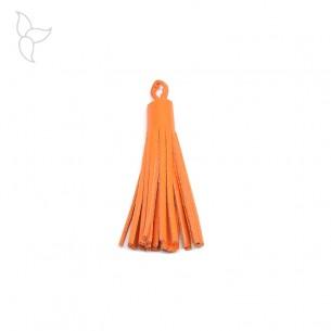 Pompon cuir mandarine 5 cm