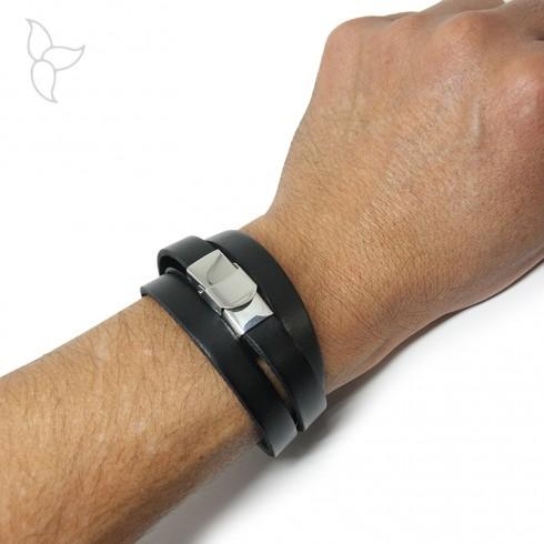 Fermoir clip acier cuir 10 mm