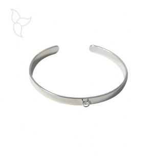 Bracelet plaqué argent réglable 6 mm avec anneau d'accrochage