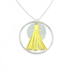 Silver plated large medal pendant 40 mm