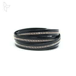 Black leather and little silvery chains 10mm