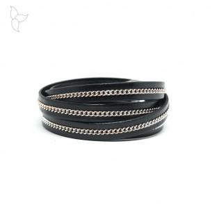 Cuero negro con pequena cadena plateada 10mm