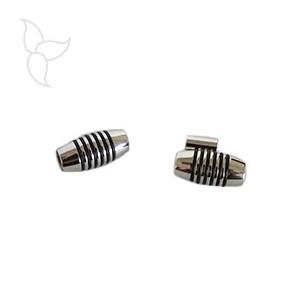 Fermoir tube acier traits noirs cuir 5 mm