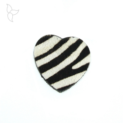 Heart shape leather with fur zebra doble faced