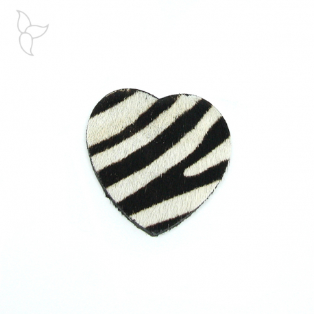 Heart shape leather with fur leopard doble faced