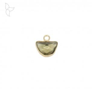 Half circle pendant brass and smoky quartz.
