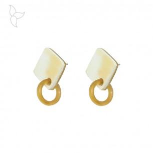 Pendientes quadrados en cuerno de búfalo con anilla para colgar