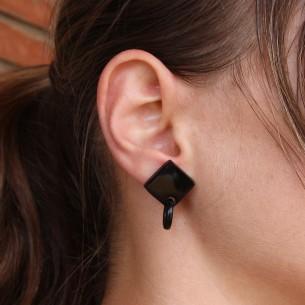 Boucle d'oreilles carrées avec anneau en corne de buffle .
