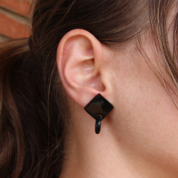 Natural Buffalo horn square earrings.