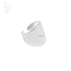 Adjustable ring with hanging ring silver plated