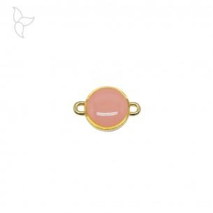 Conector redondo dorado esmaltado blanco
