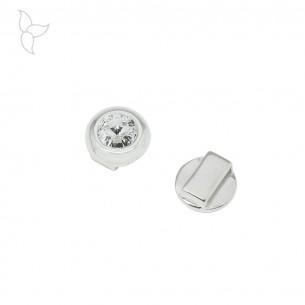 Passant strass swarovski blanc plaqué argent 15mm