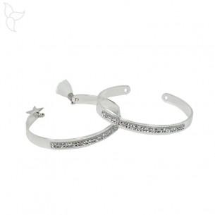 Bracelet jonc en métal argenté cristal swarovski 7mm