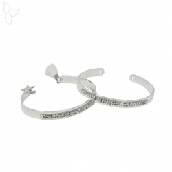 Silvered and opened fine bracelet with crystal swarovski 7 mm