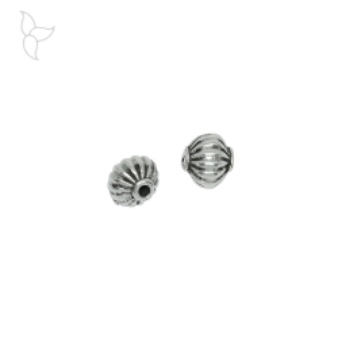 Perles ronde striée 8 mm trou 2 mm
