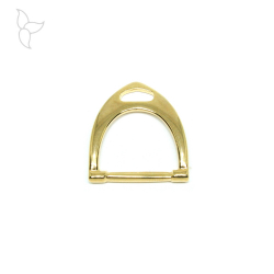 Lightly curved stirrup connector gold color.