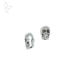 Bead or slider skull with vertical hole for 1mm cords