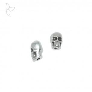 Perle ou passant tête de mort pour cordons 1 mm
