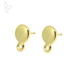 Gold color earrings round with hanging ring