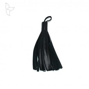Pompon cuir noir 10 cm