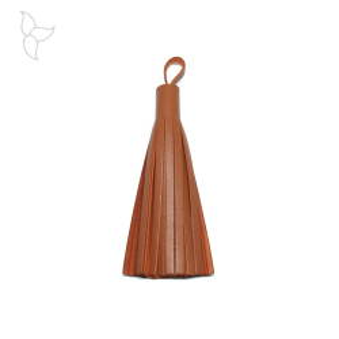 Pompon cuir camel 10 cm