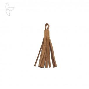 Pompon cuir velours camel 7 cm