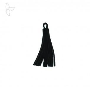 Pompon cuir velours noir 7 cm