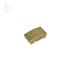 Rectangular old gold color clasp flat leather 10 mm